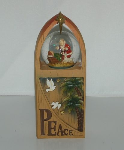 Roman Inc Peace Arch Snow Globe Kneeling Santa 8 Inches Tall