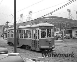 MLB Trolley Rolling Past Ebbets Field Brooklyn Dodgers Black  White 8 X ... - $5.99