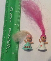 Vintage Tiny Rubber Doll Lot Of 2 Rubber W/ Long Hair Polly Pocket? - $15.59