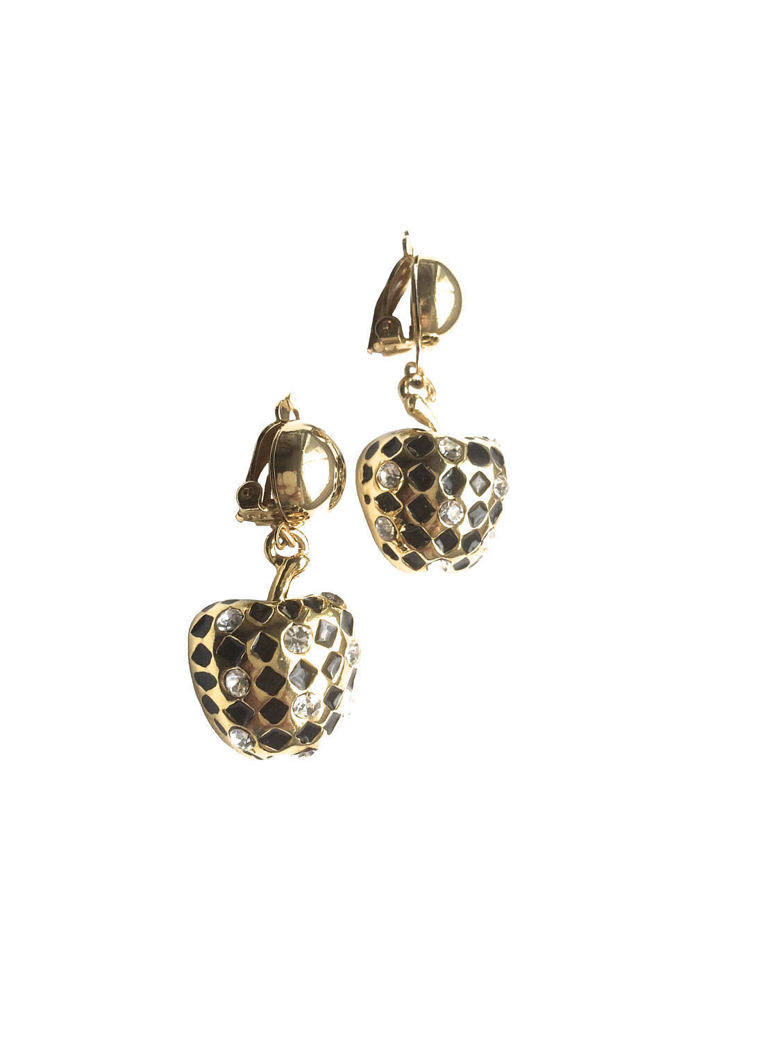 70s Harlequin Black Enamel and Rhinestone Apple Boho Chic Dangle Drop Clip On Ea
