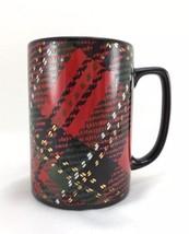 Vintage Fitz and Floyd COUNTRY PLAID Mug Cup Tartan Red Black Green Manp... - $21.51