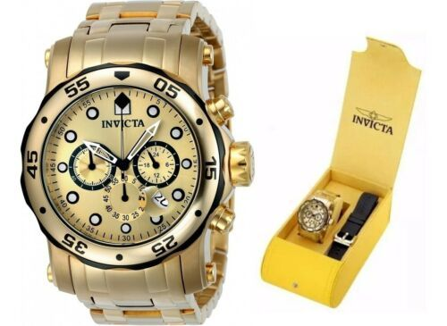 Primary image for Invicta Men's Pro Diver Chronograph  Gold Dial 23670 Interchangeable Band Set