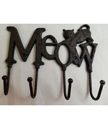 "Meow Kitty Cats Kitten Cast Iron Wall Hanger Hook Rack Decorative Black 8"" - $24.95"
