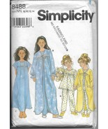 Simplicity 8488 Sleepwear Girls Sizes 8-14 Robe Nightgown Pajamas Sewing... - $11.00