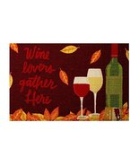 Fall Printed Rug Autumn Wine Lovers Gather Here Home Decor 20x30' NWT - $22.76