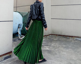 EMERALD GREEN A Line Long Pleated Skirt Womens Plus Size Full Pleated Skirts  image 2