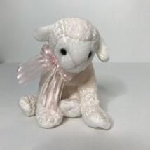 "Ty Lullaby Lamb 2002 Beanie Plush Stuffed Animal Pink Bow 6"" Long No Han... - $11.88"