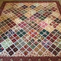 Handmade Machine Stitched Shabby Victorian Floral Patchwork Block Quilt ... - $220.87