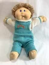 Vtg Coleco 1986 Cabbage Patch Kids Doll Tan Hair w/Clothes Blue Overalls Diaper - $24.74