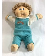 Vtg Coleco 1986 Cabbage Patch Kids Doll Tan Hair w/Clothes Blue Overalls... - $24.74