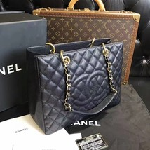 100% AUTHENTIC CHANEL CAVIAR GST GRAND SHOPPING TOTE BAG BLACK GHW image 3