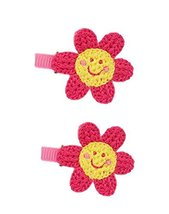 2 Pairs Of Lovely Pink Sunflower Wool Handmade Hair Accessories Hairpin image 2