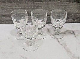 "Set 4 Waterford Crystal Kathleen Cut Footed Claret Wine 4¾"" Wine Goblets Glasses - $89.10"