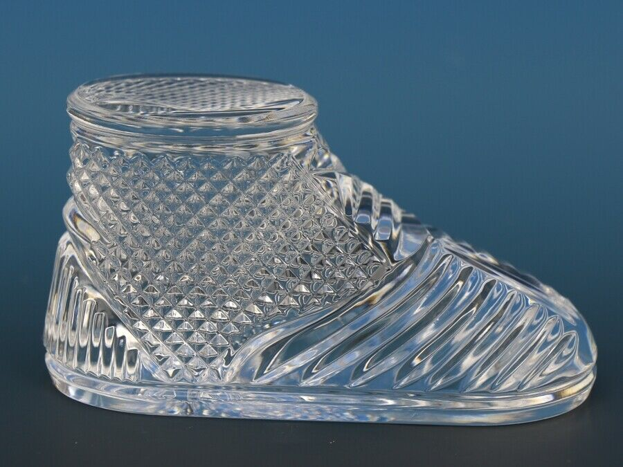 Vintage Waterford Cut Crystal Baby Boot Paperweight