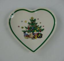 Nikko Heart Shaped Dish Christmas Tree Happy Holidays 5 3/4 Inches - $11.87