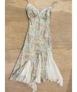 VTG dina bar-el sz P small silk handkerchief dress pastel paisley Slip d... - $93.50