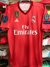 Adidas Real Madrid Stadium Red Soccer Jersey Champions Patches Size Large - $103.95