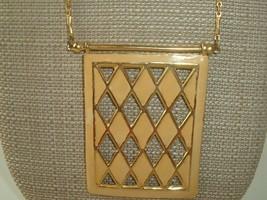 Necklace VTG 70s Geometric Pendant Statement Boho enamel gold tone - $12.86