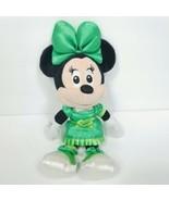 Disney Minnie Mouse Shiny Green Dress Shoes Bow Tie Plush Stuffed Animal... - $17.81