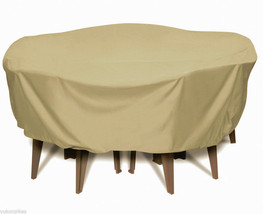 """84"""" Round Table Set PVC Lined Heavy Poly Outdoor Cover - Khaki - $99.99"""