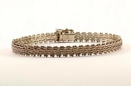 Vintage Herringbone Link Bracelet 925 STERLING BR 701 - $32.49