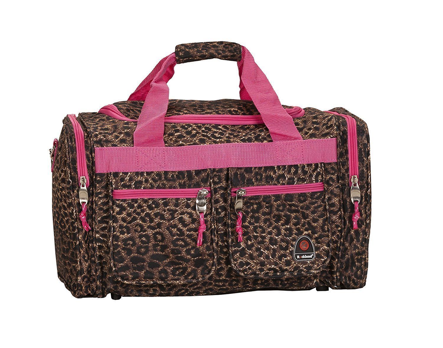 19Inch Luggage Tote Bag Leopard Suitcase Duffle Travel Carry on Baggage Pink