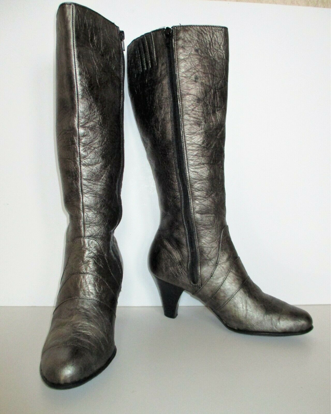 Primary image for Born Boots Size 8 1/2 Women gunmetal textured leather knee high