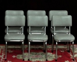 VintageChrome  Chairs  Custom faux ostrich gray NEW Fabric  SIX - $800.00