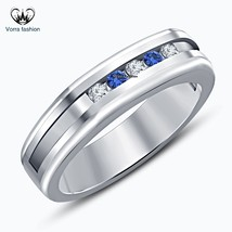Round Cut CZ & Blue Sapphire White Gold Plated Sterling Silver Men's Band Ring - £55.00 GBP