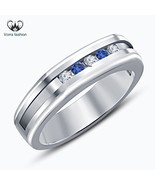 Round Cut CZ & Blue Sapphire White Gold Plated Sterling Silver Men's Ban... - $67.99