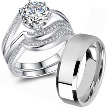 Wedding Ring Sets His Hers Sterling Silver Men's Stainless Steel Christmas Gifts - $32.99