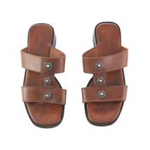 Sesto Meucci Brown Leather Embellished Sandals Slides Slip On Womens 8.5... - $59.27