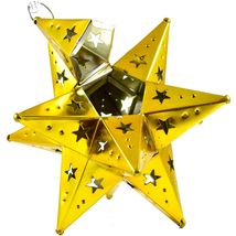 "Small 6.5"" Hanging Tin Yellow Gold Mexican Moravian Star Ornament Decoration image 3"