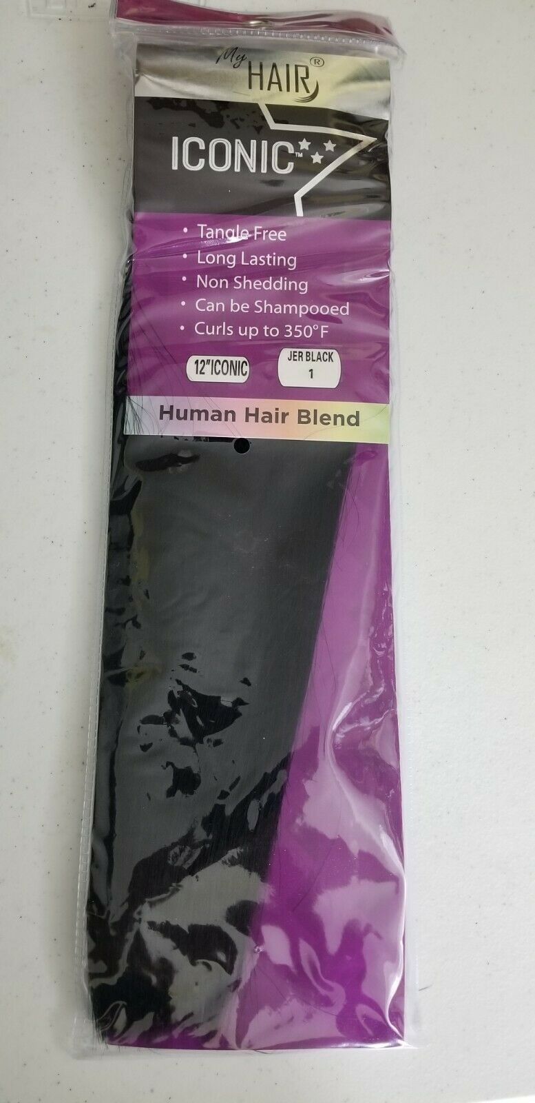 "Primary image for Lot of 4, My Hair Extensions, Iconic- Human Hair Blend. 12"" Iconic - Jer Black 1"