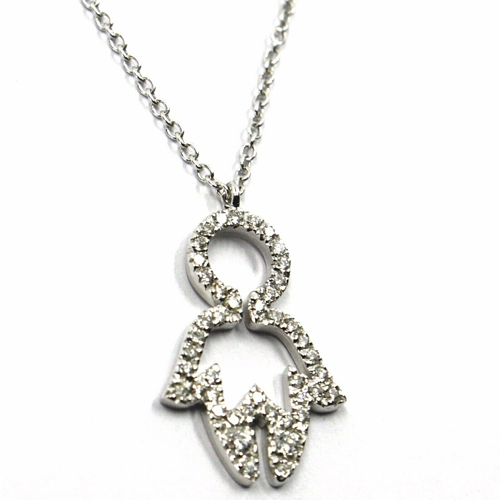 18K WHITE GOLD NECKLACE, BABY CHILD BOY SON PENDANT WITH DIAMONDS ROLO CHAIN