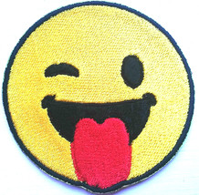Emoji Tongue Embroidered Patches Iron Sew On Bag Cap Jeans Jacket Badge ... - $2.69