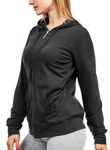 Women's Cotton Blend Lightweight Athletic Activewear Black Zip Up Hoodie Jacket image 2