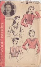 HOLLYWOOD VINTAGE PATTERN 1165, 1940'S BLOUSE 4 STYLES SIZE 14 RUTH WARRICK - $17.00