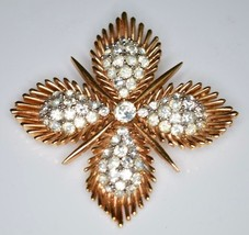 VTG RARE 50's CROWN TRIFARI Clear Rhinestone Maltese Cross Pin Brooch - $148.50