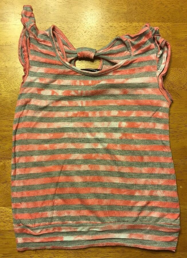 Miss Understood Girl's Pink & Gray Striped Cap Sleeve Shirt Size Small 2 Layer