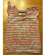 Miss Understood Girl's Pink & Gray Striped Cap Sleeve Shirt Size Small 2... - $6.99