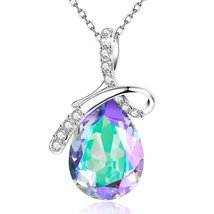 """""""Crystal Lake"""" Purple Pendant Necklace Teardrop Shaped Jewelry Gift,Made... - $59.95"""