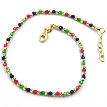18K YELLOW GOLD BRACELET FACETED WORKED 2mm BALLS, BLUE GREEN RED CUBIC ZIRCONIA image 1