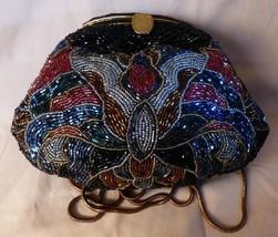 Vintage Elaborate Beaded Evening Bag Shoulder Bag or Clutch Goldtone Lon... - $155.00