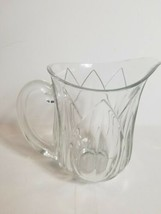 Heavy Crystal Pitcher Clear 8 inches Tall Glass Handle Glassware Drinkware - $24.50