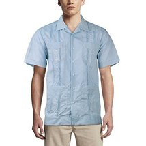 Alberto Cardinali Men's Guayabera Short Sleeve Cuban Casual Dress Shirt (M, Ligh