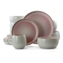 Elama Mocha Muave 16 Piece Luxurious Stoneware Dinnerware with Complete ... - $117.18