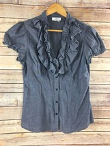 Ann Taylor Loft Chambray Shirt 6 Top Ruffle V-Neck Short Sleeve 100% Cot... - $13.07
