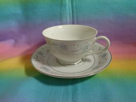 "English Garden Replacement Footed Cup & Saucer Japan Platinum Trim 5 3/4""  - $6.90"