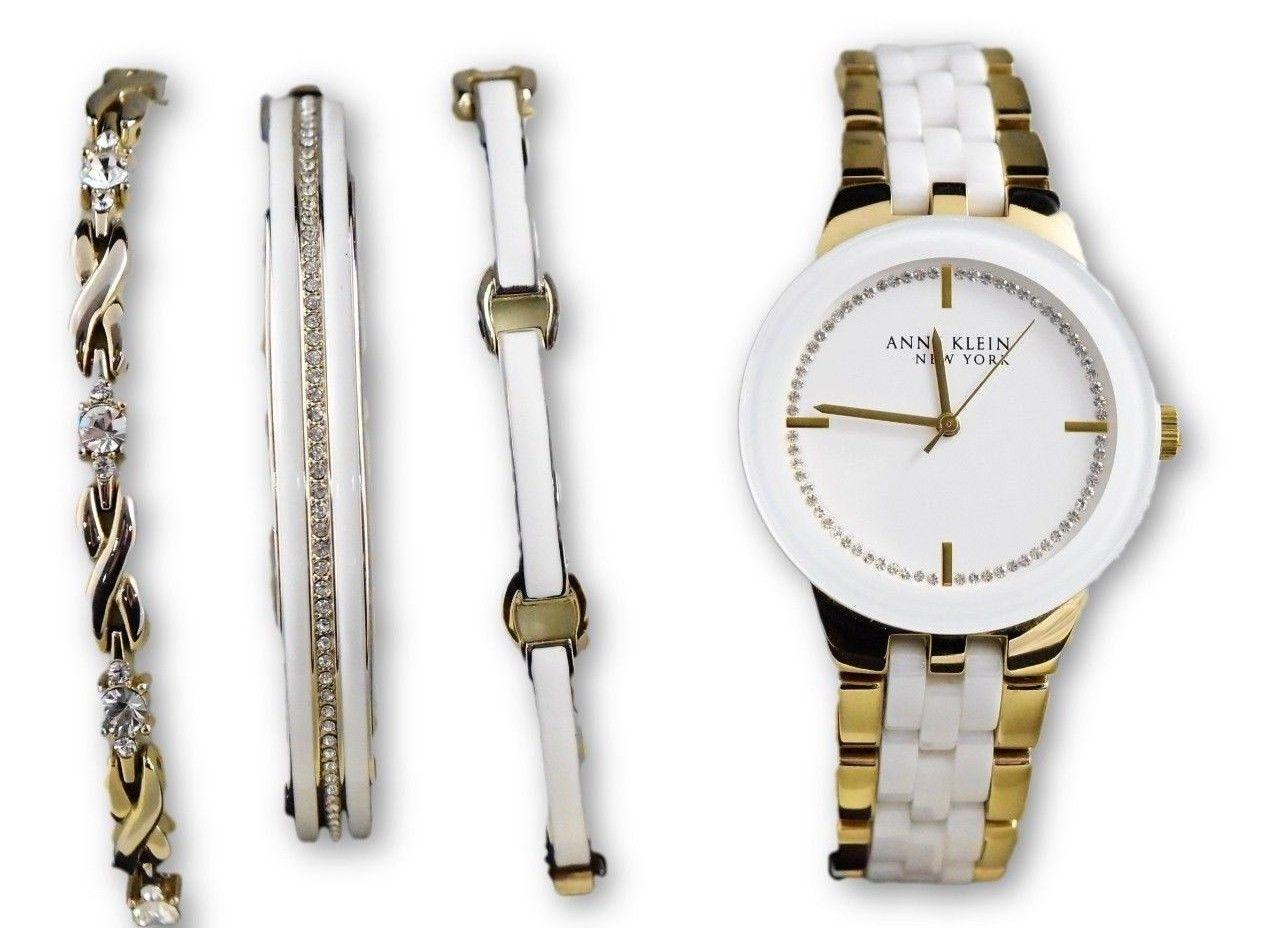 Anne Klein 12/2242GBST Women's Gold Crystal Ceramic Watch & Bracelets Set  - $59.39